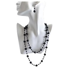 "Long Black Glass Faceted ""French Jet"" Beaded Necklace,  44"""