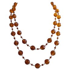 "Long Honey Color Czech Vintage Faceted Glass Bead Necklace, 48"""