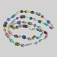 """Long Artisan Multi Colored Glass and Crystal Necklace, 42"""""""