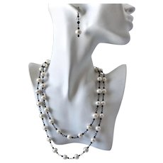 """Long Cultured Freshwater Pearl Necklace with Black Swarovski Crystals, 40"""""""