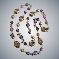 """Long Artisan Lavender and Purple Glass and Crystal Necklace, One of a Kind, 40"""""""