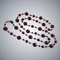 """Long Czech Vintage Garnet Cut Glass Beaded Necklace, 44"""""""