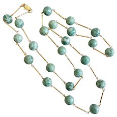 """Qinghai Jade Long Necklace and Earrings, 36"""""""