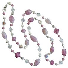 """Long Necklace of Vintage Glass Beads, Crystal and Freshwater Pearls,  39"""""""