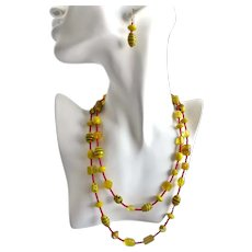 Long Necklace of Mixed Yellow Glass Beads with Earrings,  One of a Kind, 40 inches