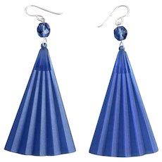 Long Drop Earrings of Cool Blue Vintage Acrylic Fans