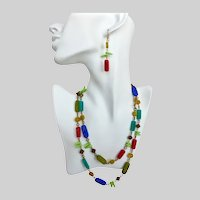 Long Necklace of Multicolored Pressed Glass Beads with Earrings,  40 inches