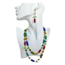 Long Necklace of Multicolored Pressed Glass Beads,  40 inches