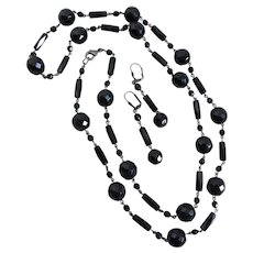 """Long Black Faceted Glass """"French Jet"""" Beaded Necklace,  40"""""""