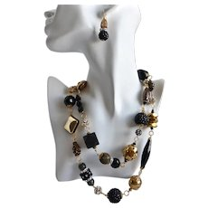 Long Chunky Eclectic Artisan Necklace in Black, Gold Tones and Rhinestones, 42""