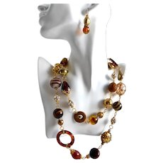 Chunky Eclectic Browns, Ambers, Gold tones and Rhinestones Artisan Necklace, 42 inches