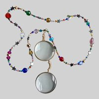 Necklace of Crystals and Stars with Magnifying Glasses Pendant