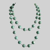 Long Necklace of Qinghai Jade with Earrings,  40 inches