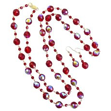 Long Necklace of Bright Ruby Red Iridescent Crystal,  44 Inches