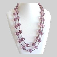 Long Necklace of Large Mauve Vintage Faceted Glass Beads, 49""