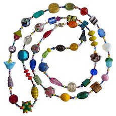 Long Artisan Multi Colored Necklace of Glass Beads, 40 Inches