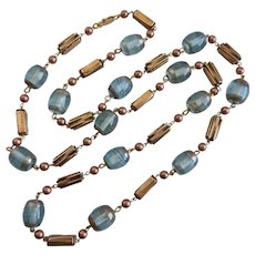 Long Necklace of Vintage Hand Crafted Aqua Glass Beads,  40 Inches
