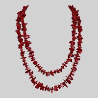 Long Red Coral Necklace, 43 inches