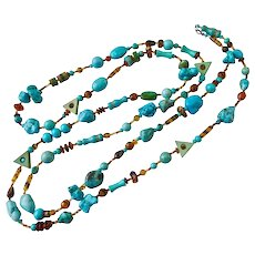 Long 58 Inch Artisan Necklace of Turquoise and Magnesite Stones and Tortoise Glass