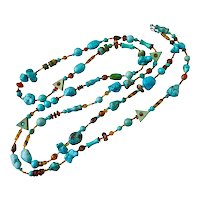 """Long Necklace of Turquoise and Magnesite Stones and Tortoise Glass, 58"""""""