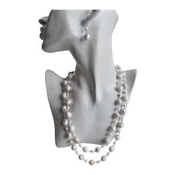Long Artisan Necklace of Vintage Chalk White Iridescent Faceted Beads with Earrings
