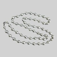 44 Inch Necklace of Vintage Japanese Silver Grey Baroque Faux Pearls with Earrings