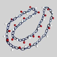 Vintage Blue Enamel Chain with Red and White Faceted Glass Beads, 30""