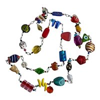 """Long Multicolored Mixed Media Station Necklace, 43"""""""