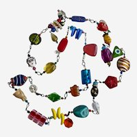 Long Multicolored Mixed Media Station Necklace, 43""