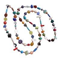 "Long Multicolored Gemstone Artisan Necklace, 45"""