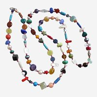 Long Multicolored Gemstone Artisan Necklace, 45""
