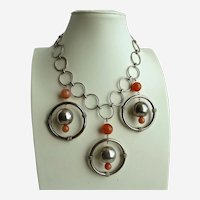 Wild and Crazy Artisan Necklace of Rings and Carnelian Agates