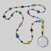 Magnifying Glass Pendant on Necklace of Crystals and Stars!