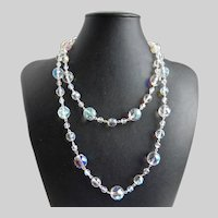 Opulent Long Necklace of Czech Aurora Borealis Beads, with Earrings, 43""