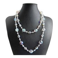 """Opulent Long Necklace of Czech Aurora Borealis Beads, with Earrings, 43"""""""