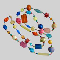 Long Artisan Necklace of Mixed Media Multicolored Beads, 48""