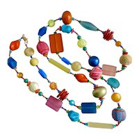 """Long Artisan Necklace of Mixed Media Multicolored Beads, 48"""""""
