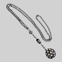 """Y"" Necklace with Large Rhinestone Ball Drop on Chain"