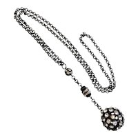 """""""Y"""" Necklace with Large Rhinestone Ball Drop on Chain"""