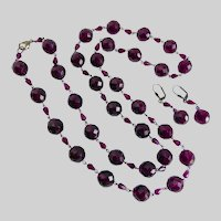 Long Necklace of Deep Purple Vintage Faceted Czech Glass with Earrings, 38""