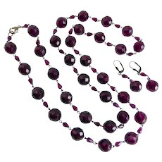 """Long Necklace of Deep Purple Vintage Faceted Czech Glass with Earrings, 38"""""""