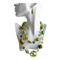 """Long Chunky Eclectic Artisan Necklace of Rhinestones, Greens, Greens and Greens! 40"""""""