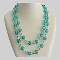 """Vintage Necklace of Faceted Aqua Czech Glass Beads, 44"""""""