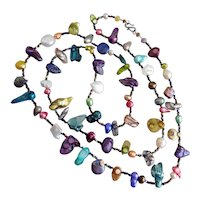 """Crazy Mixed Up Multicolored Freshwater and Blister Pearls, 45"""""""