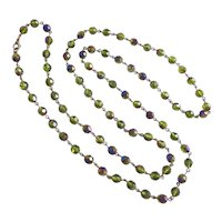 """Long Minimalist Necklace of Olive Green Iridescent Czech Crystal, 44"""""""