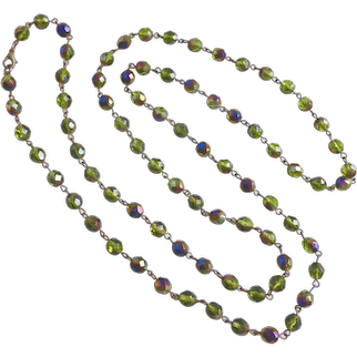 Long Minimalist Necklace of Olive Green Iridescent Czech Crystal, 44""