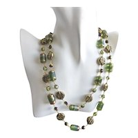 """Long Necklace of Green Lamp Work Glass Barrel Beads with Earrings, 41"""""""