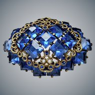 Vintage Czech Blue Sapphire Crystal Brooch/Pin