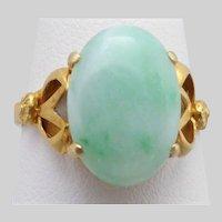 Vintage Light Green Jadeite Jade Ring, Gold Gilt over Sterling, Size 7.5