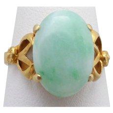 Vintage light Green Jadeite Jade Ring, Vermeil/Silver Gilt